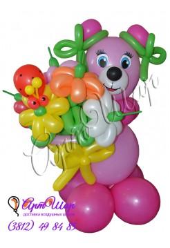 Букет цветов из  воздушных шаров «Розовый медведик»