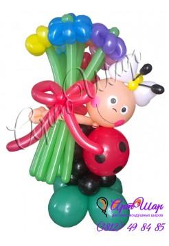 Букет цветов из  воздушных шаров «Божья коровка»