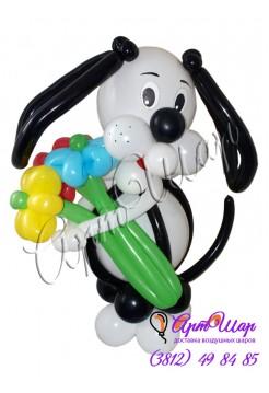 Букет цветов из воздушных шаров «Пёсик»