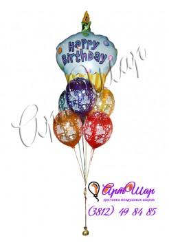 Букет из гелиевых шаров  «Торт на День Рождения»