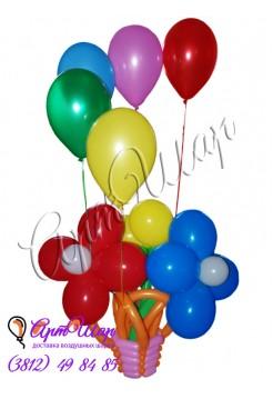 Букет из воздушных шаров в корзинке с гелиевыми шарами