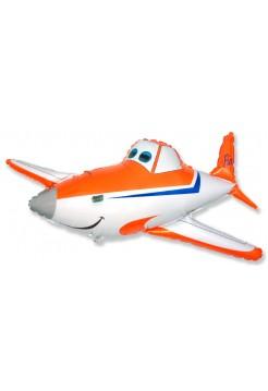 Фольгированная фигура «Самолет оранжевый» с гелием