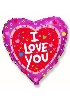Фольгированное сердце «I love you» с гелием