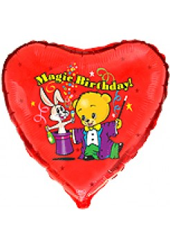 Фольгированное сердце «Мишка фокусник Magic Birthday»  с гелием