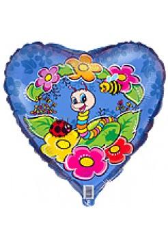 Фольгированное сердце «Гусеница» с гелием