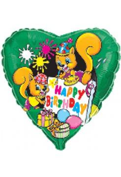 Фольгированное сердце «Белки Happy Birthday» с гелием