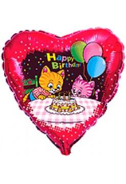 Фольгированное сердце «Котята с тортом» с гелием