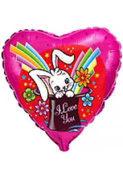 Фольгированное сердце «Заяц в шляпе» с гелием