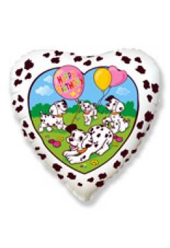 Фольгированное сердце «Долматинцы» с гелием