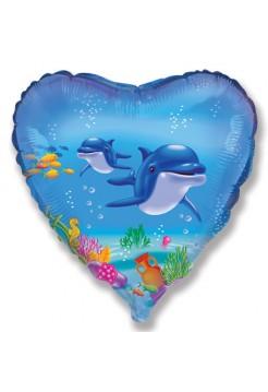 Фольгированное сердце «Дельфины» с гелием