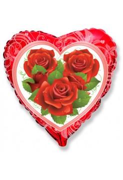 Фольгированное сердце «Розы» с гелием