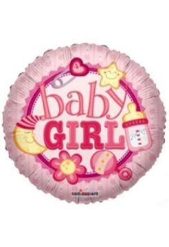 Фольгированный круг «С рождением, девочка» с гелием