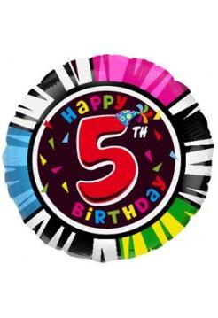 Фольгированный круг «Happy Birthday 5» с гелием