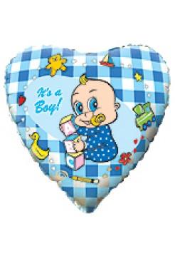 Фольгированное сердце «Я мальчик!» с гелием