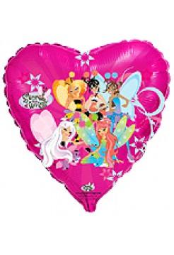 Фольгированное сердце «Винкс» с гелием